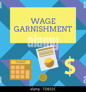 Text sign showing Wage Garnishment. Business photo showcasing Deducting money from compensation ordered by the court Computing Dollar Investment in Go - Stock Photo