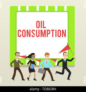 Handwriting text writing Oil Consumption. Conceptual photo This entry is the total oil consumed in barrels per day People Crowd Flags Pennants Headed  - Stock Photo