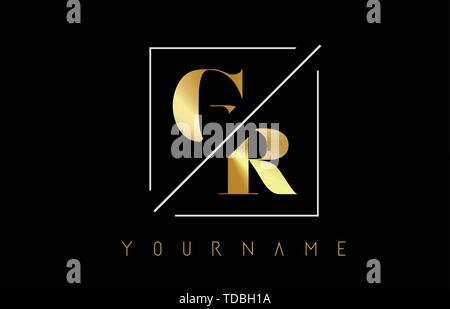 GR Golden Letter Logo with Cutted and Intersected Design and Square Frame Vector Illustration - Stock Photo