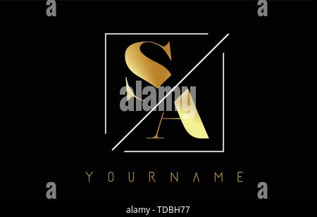SA Golden Letter Logo with Cutted and Intersected Design and Square Frame Vector Illustration - Stock Photo