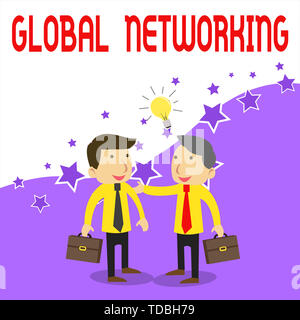 Handwriting text writing Global Networking. Conceptual photo Communication network which spans the entire Earth WAN Two White Businessmen Colleagues w - Stock Photo