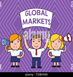 Handwriting text Global Markets. Conceptual photo Trading goods and services in all the countries of the world People with Blank Banner Megaphone and  - Stock Photo