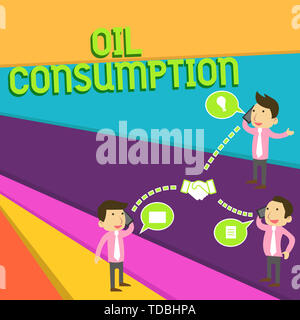 Handwriting text Oil Consumption. Conceptual photo This entry is the total oil consumed in barrels per day Businessmen Coworkers Conference Call Conve - Stock Photo