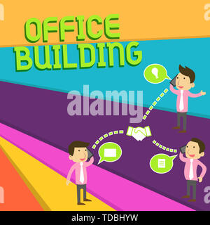 Handwriting text Office Building. Conceptual photo Commercial buildings are used for commercial purposes Businessmen Coworkers Conference Call Convers - Stock Photo