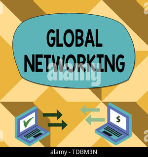 Text sign showing Global Networking. Business photo showcasing Communication network which spans the entire Earth WAN Exchange Arrow Icons Between Two - Stock Photo