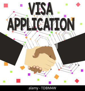 Text sign showing Visa Application. Business photo text Form to ask permission travel or live in another country Hand Shake Multiracial Male Business  - Stock Photo