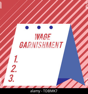 Text sign showing Wage Garnishment. Business photo showcasing Deducting money from compensation ordered by the court Modern fresh and simple design of - Stock Photo