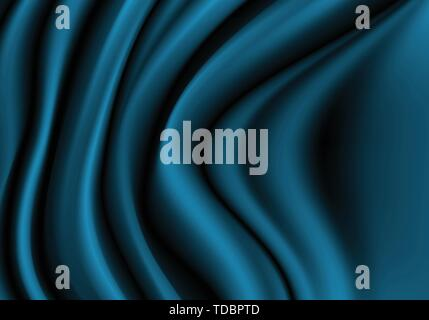 Abstract dark blue fabric satin wave luxury background vector illustration. - Stock Photo