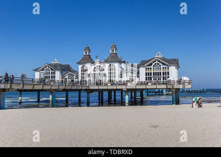 Restaurant on the Seebrucke sea bridge in Sellin on Rugen island, Germany - Stock Photo