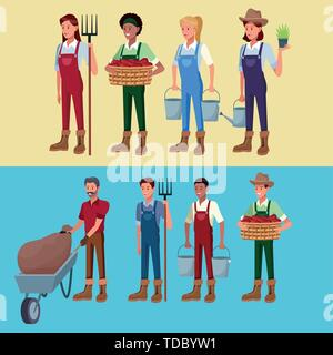 Farmers working in farm cartoons - Stock Photo