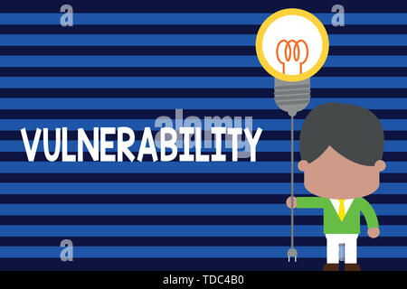 Writing note showing Vulnerability. Business concept for State of being exposed to the possibility of being attacked Standing man tie holding plug soc - Stock Photo