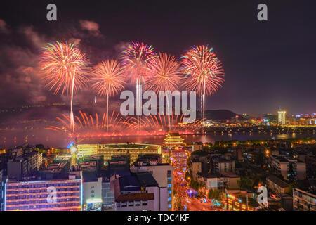 Fireworks in Orange Island, Changsha - Stock Photo