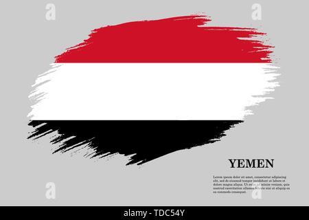 Brush stroke styled flag of Yemen . Template for your design - Stock Photo