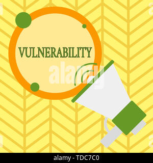 Handwriting text writing Vulnerability. Conceptual photo State of being exposed to the possibility of being attacked SpeakingTrumpet Empty Round Strok - Stock Photo