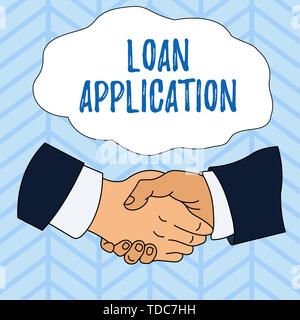 Writing note showing Loan Application. Business concept for Document that provides financial information about borrower Hand Shake Multiracial Male Co - Stock Photo