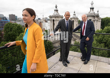 Former Change UK and Labour MP Chuka Umunna (centre) with Liberal Democrat Mayoral Candidate for London in 2020 Siobhan Benita and party Leader Vince Cable (right) following a press conference in Westminster, London, where he announced he is joining the Lib Dems. - Stock Photo