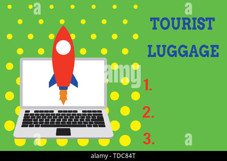 Handwriting text Tourist Luggage. Conceptual photo big bag that contains everything one needs for traveling Launching rocket up laptop . Startup proje - Stock Photo
