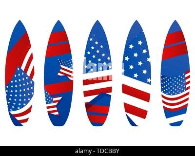 Surfboards with USA flag on a white background. Types of surfboards with a pattern. Vector illustration - Stock Photo