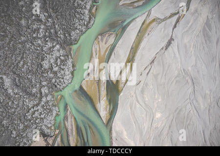 Landmannalaugar National Park - Iceland. Rainbow Mountains. Aerial view of amazing glacier river patterns. Top view. Picture made by drone from above. - Stock Photo