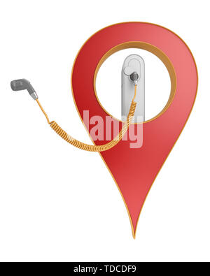 navigation point with charger for electric vehicles. 3d rendering - Stock Photo