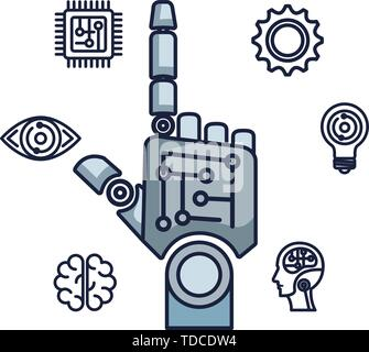robotic hand index with set icons vector illustrator - Stock Photo
