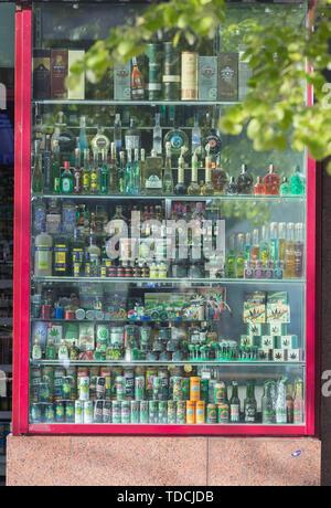 PRAGUE, CZECH REPUBLIC 16-04-2019: Alcoholic beverages glass bottles - Stock Photo