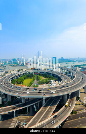 skyline and road intersection in shanghai - Stock Photo