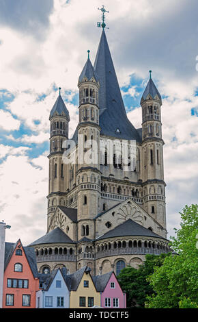 The romanesque Great Saint Martin Church in Cologne - Stock Photo