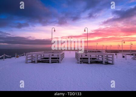 Frozen pier in Sopot, winter seascape. Baltic Sea. Poland. - Stock Photo