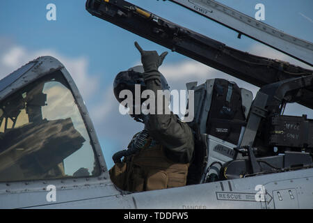 A U.S. Air Force A-10 Thunderbolt II pilot prepares to take off in preparation for RED FLAG-Alaska (RF-A) 19-2 at Eielson Air Force Base, Alaska, June 6, 2019. The aerial portion of RF-A takes place in the Joint Pacific Alaska Range Complex, which has an airspace of more than 67,000 square miles. (U.S. Air Force photo by Airman 1st Class Aaron Larue Guerrisky) - Stock Photo