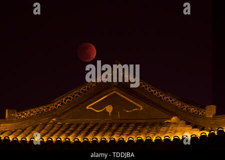 152 a super blue moon total lunar eclipse, super red moon beautiful - Stock Photo