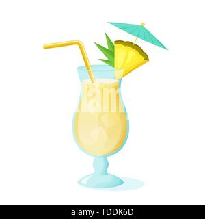 Pina Colada cocktail with pineapple slice, straw and umbrella. A glass of alcoholic drink isolated on white background. Vector illustration. - Stock Photo