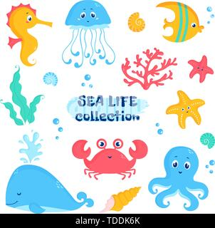 Sea animals and plants elements - whale, fish, crab, seahorse, octopus, starfish, jellyfish, shells, coral, seaweeds. Vector set of cute illustrations - Stock Photo