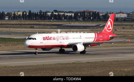 ISTANBUL, TURKEY - MARCH 17, 2019: AtlasGlobal Airlines Airbus A321-211 (CN 675) takes off from Istanbul Ataturk Airport. AtlasGlobal has 18 fleet siz - Stock Photo