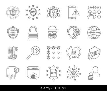 Data analytic, protection and social network icons set. Editable Stroke. EPS 10. - Stock Photo