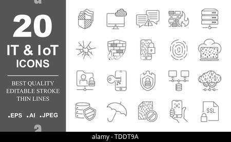 Cyber security, digital technology, IT, IoT, smart protection, networks. Simple icons set. Editable Stroke. - Stock Photo