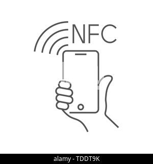 NFC technology payment, vector ounline icon. Hand and Smartphone. Contacless, wireless payment with credit plastic card, smartphone, POS terminal - Stock Photo