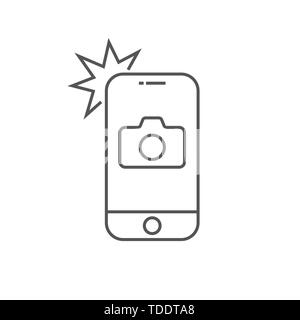Simple icon smartphone with camera and flash. Modern phone with photo sign for web design. Vector outline element isolated. Editable Stroke. EPS 10. - Stock Photo