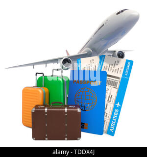 Travel concept. Airplane with passport, airline boarding pass tickets and baggage. 3D rendering - Stock Photo