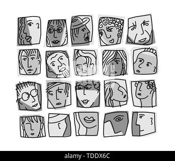 People abstract faces avatars characters grayscale icons set - Stock Photo