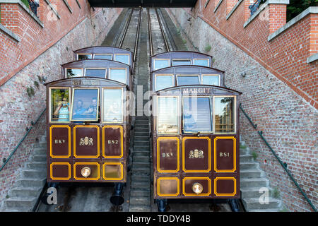 Funicular tram train going to Buda Castle in Budapest - Stock Photo