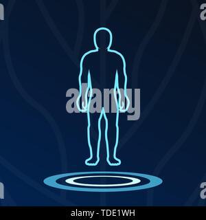 Medical hologram icons, human body digital symbol, science signs, dashboard ui. - Stock Photo