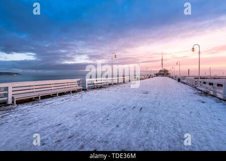 Snow covered pier in Sopot. Winter landscape. Poland. - Stock Photo