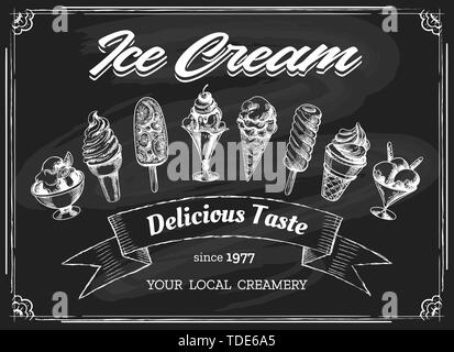 Ice cream chalk board drawing. Eskimo cream sketch on chalkboard background, icecream shop or restaurant dessert menu vector hand drawn illustration - Stock Photo