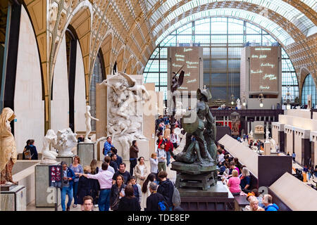 Paris, France, 15 May 2019 - Interior view of Museum Orsay in Paris with Visitors at the Musee d Orsay - Stock Photo