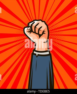 Winner hand up. Success in business vector illustration - Stock Photo
