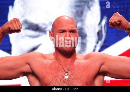 Las Vegas, NV, USA. 14th June, 2019. Tyson Fury in attendance for Tyson Fury vs Tom Schwarz Weign In, MGM Grand Garden Arena, Las Vegas, NV June 14, 2019. Credit: JA/Everett Collection/Alamy Live News - Stock Photo