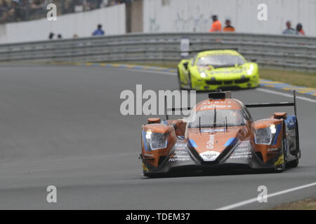 Le Mans, Sarthe, France. 15th June, 2019. G-Drive Racing Oreca 07 Gibson rider ROMAN RUSINOV (RUS) in action during the 87th edition of the 24 hours of Le Mans the last round of the FIA World Endurance Championship at the Sarthe circuit at Le Mans - France Credit: Pierre Stevenin/ZUMA Wire/Alamy Live News - Stock Photo