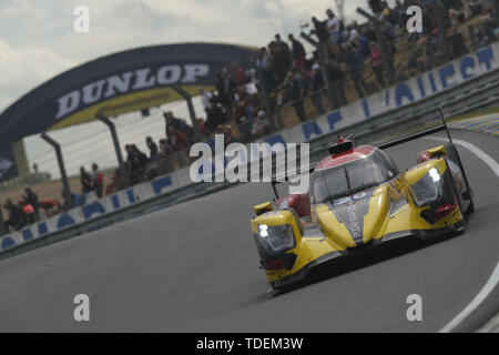 Le Mans, Sarthe, France. 15th June, 2019. High Class Racing Oreca 07 Gibson rider ANDERS FJORDBACH (DEK) in action during the 87th edition of the 24 hours of Le Mans the last round of the FIA World Endurance Championship at the Sarthe circuit at Le Mans - France Credit: Pierre Stevenin/ZUMA Wire/Alamy Live News - Stock Photo