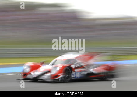 Le Mans, Sarthe, France. 15th June, 2019. Idec Sport Oreca 07 Gibson rider PAUL LOUP CHATIN (FRA) in action during the 87th edition of the 24 hours of Le Mans the last round of the FIA World Endurance Championship at the Sarthe circuit at Le Mans - France Credit: Pierre Stevenin/ZUMA Wire/Alamy Live News - Stock Photo